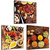 decomonkey Bilder Küche 60x20 cm 3 Teilig Leinwandbilder Bild auf Leinwand Vlies Wandbild Kunstdruck Wanddeko Wand Wohnzimmer Wanddekoration Deko Küchenbilder Gewürze
