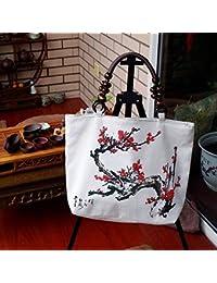6da91fda7d Eeayyygch Yunqi Qi Lino in Rilievo Borsetta a Tracolla Borsetta Design  Originale Cinese Art Pacchetto, Plum Blossom, Come Mostrato,…