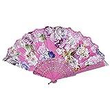 Kviklo Handfächer Faltseide Fächer Kunststoff Rose Blume Durchbrochene Kostüm Party Hochzeit Chinesisch/Japanisch Fan Dekorationen(Rosa,23cm)
