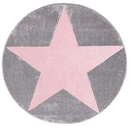 Happy Rugs - Alfombra infantil, motivo de estrella, color rosa y gris, 160 cm, redonda