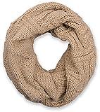 styleBREAKER Strick Loop Schal mit Gitter- und Rippenmuster, Uni Feinstrick Schlauchschal, Winter Strickschal, Unisex 01018155, Farbe:Beige