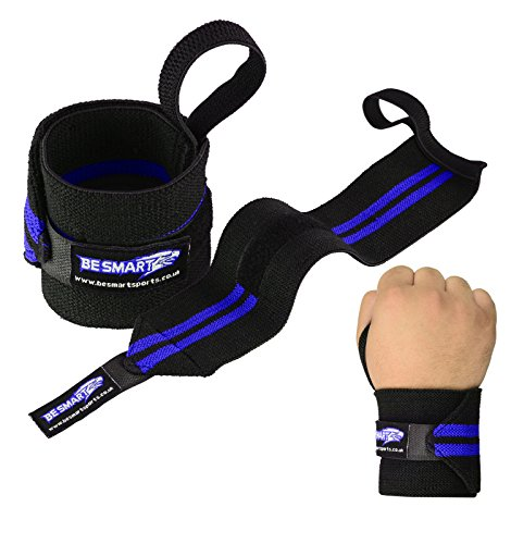 BeSmart-Weight-Lifting-Wrist-Wraps-Bandages-GYM-Strap-Hand-Support-Brace-Cotton-Blue