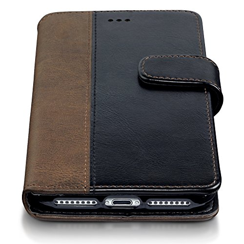 Coque Cuir iPhone 8 Plus / iPhone 7 Plus, Terrapin Étui Housse en Cuir pour iPhone 8 Plus Cover - Cognac Noir / Brun