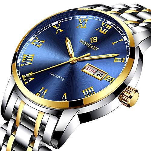 WISHDOIT Herren Freizeit Sport Wasserdicht Analoger Quarz Uhr Luxus Edelstahl Automatischer Kalender Gold Blau 9846H