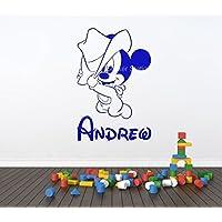 Bébé Mickey Mouse Cowboy Garçons Personnalisé Prénom Art Mural Autocollant