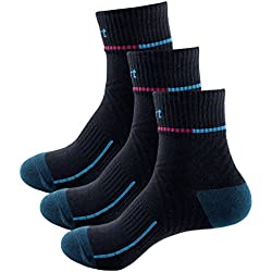 Sasairy profesional de baloncesto (–3pares de calcetines algodón medio estilo sport Athletic calcetines, hombre, negro
