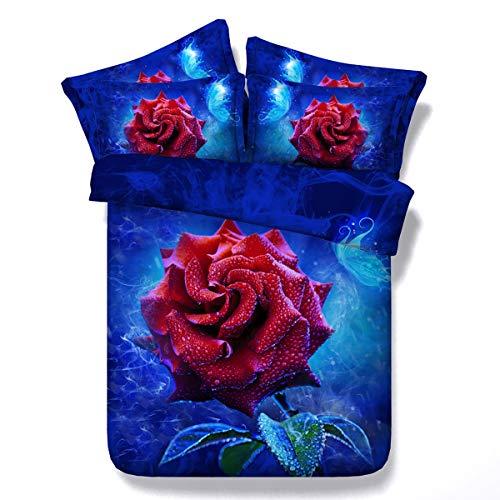 HUANZI Blau Doppel Bettbezug Set 3D Rose Digital Bedruckte BettwäSche Set 2 StüCk Mit Kissen Sham,Blue,260cmwide*225cmlong