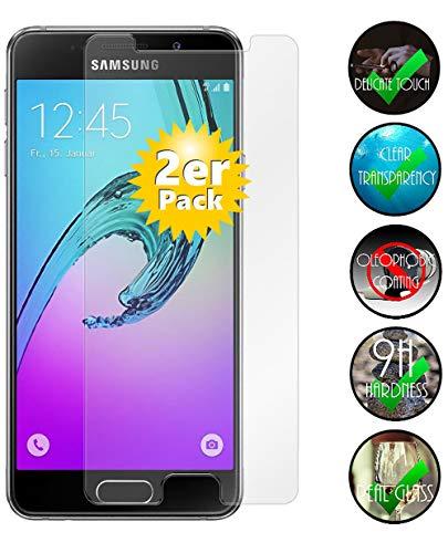 Smartphone-Equipment [2er Pack] Panzerglas für Samsung Galaxy A3 2016 Echt-Hartglas 9H, Glas-Folie Schutzfolie Panzerfolie Bildschirm-Schutz