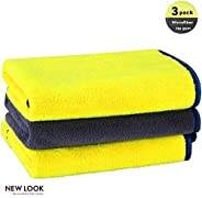 New Look Microfiber Cleaning Cloth, Premium Super Thick Car Detailing Towel, High Absorbent Double Faced Washi