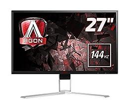 """AOC Agon AG271QX - Monitor para Juegos (1 ms, 144 Hz, 2560 x 1440 Pixeles, 27"""" Quad HD, Compatible con Free-Syn) Color Negro y Rojo"""
