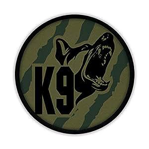16883 Écusson à coudre- Logo K9 et berger allemandLogo de la brigade canine anti-drogue de la police allemande- Vert olive camouflage