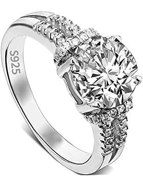 EVER FAITH® 925 Sterling Silber 4-Steg-Krappenfassung rund CZ Engagement Ring