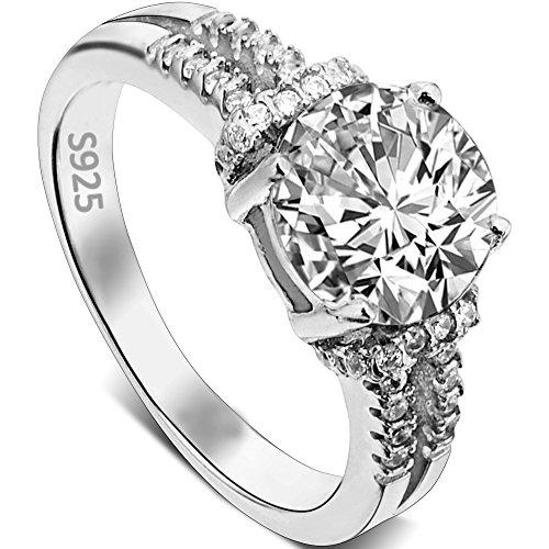 EVER FAITH® 925 Sterling Silber 4-Steg-Krappenfassung rund CZ Engagement Ring - Größe 54 (17.2) N06643-2