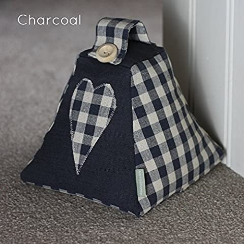 SALE Shabby Chic Fabric Door stop Doorstop . Handmade in Laura Ashley Charcoal Gingham fabric with Heart Applique