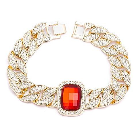 Hommes de New plaqué or pierre rouge Pendentif 16mm 21,6cm Cuban link chaîne bracelet