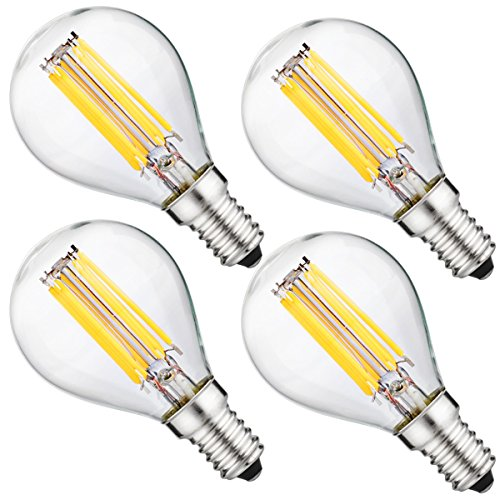Luohaoshi Dimmbar 6W E14 LED Filament Lampen, G45 LED Birne, Ersatz 60W Glühlampe, Kaltweiß 6000K , 600 Lumen, 330° Abstrahwinke, 4er Pack
