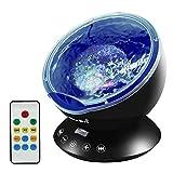 Emotionlite Ozean Wellen Projektor Nachtlicht mit eingebautem Mini-Musik-Player und Fernbedienung 12 LED & 7 Farben Modus für Kinder Erwachsenen Wohnzimmer und Schlafzimmer (Schwarz)