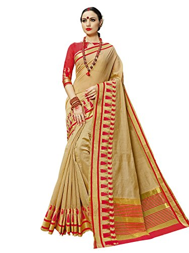Kanchnar Women's Beige Color Cotton Silk Jacquard Saree-751S1919