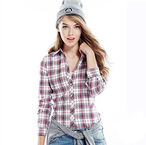 ACVIP Chemisier Femme/Fille Étudiante Carreaux Blouse Casuel Manche Longue Shirt Coton avec Boutons,17 Couleurs 8#