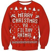 FOOBRTOPOO Novedad Navidad Sudadera de Navidad Estampado de Jersey Tops Blusa Cuello Redondo Navidad O-Cuello Invierno Manga Larga Sport Jumper-S (Color : Red, tamaño : S)