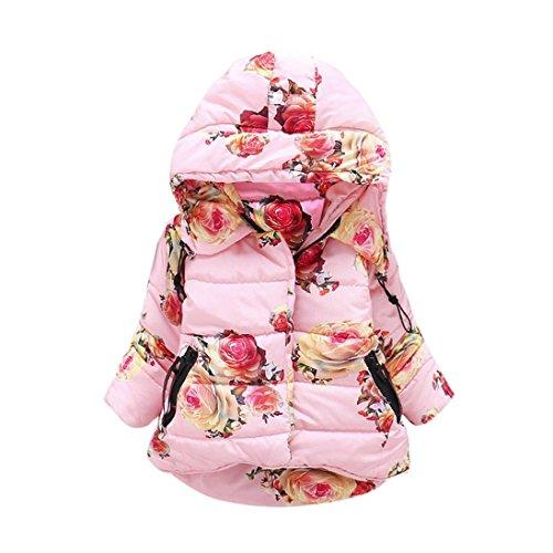 Mäntel Baby Wintermantel Longra Baumwolle Winterjacke Winterparka Baby Mädchen Prinzessin Warm Jacken Trenchcoat mit Blume Kapuzenjacke...