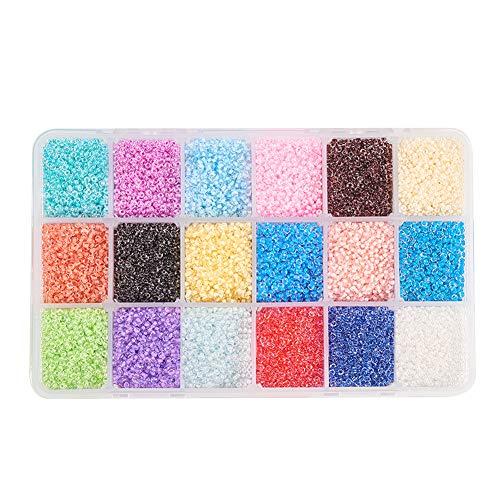 PandaHall Elite 37800pcs / Box Glas Rocailles, Grade AA Round Seed Bead für Schmuck Machen, 2,3x1,5 mm, Loch: 1mm, 18 Mischfarbe (Projekte Seed Bead)