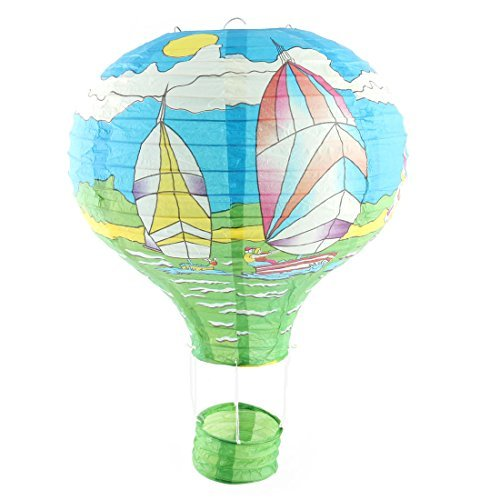 DealMux Papier Segelboot-Muster-Abschluss-Hochzeit Lightless hängende DIY Ornament Heißluft-Ballon Laterne 12 Zoll Durchmesser Blau