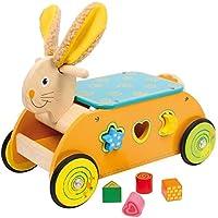 """Motorikwagen """"Hase"""" aus Holz, für rasante Fahrten und tolle Steckspiele, Lernspielzeug mit Gummireifen für leise Laufgeräusche, ein perfektes Geschenk zu Ostern ab 12 Monate"""