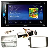 Pioneer AVH-A200BT Bluetooth USB MP3 Autoradio iPhone iPod Doppel Din CD DVD Touchscreen UKW DivX Einbauset für Mercedes C-Klasse W203 CLK W208 W209