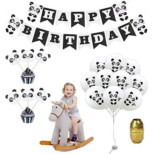 Geburtstagsdeko Kindergeburtstag Deko Panda Geburtstag Dekoration Set für Jungen Mädchen mit Happy Birthday Girlande, 10 Ballons, 6 Cupcake Topper, 1 Rolle Goldenes Band, Geburtstagsparty Kinder