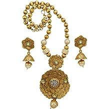 Banithani indian collar de cadena dorado partido conjunto de boda llevar joyas bollywood étnico