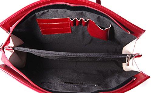Frau Handtasche Aktentasche Schultertasche und Geldbörsen, 100% echtes Leder Made in Italy Rot
