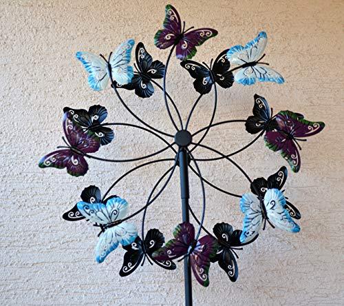 drad doppelt Schmetterlinge 165 cm- stabiles hübsches Windspiel für den Garten ()