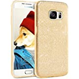 LIVHÒ | Coque Paillette pour Samsung Galaxy S7 EDGE – Or Brillant – Housse souple effett strass / Glitter Bling Case / Etuì Gel TPU Slim 3 en 1 + Cleaning Cloth