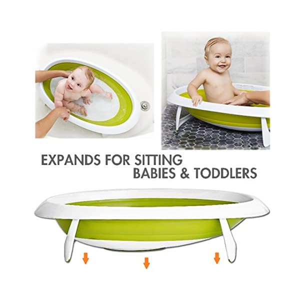 deAO Baby Bath Tub Two Position Collapsible Baby Bathtub Portable Set