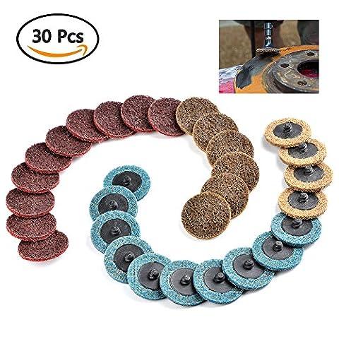 ATPWONZ 30 PCS Schleifscheiben 2 Zoll Schnellwechsel SiC (Siliciumcarbid) Schleifpapier Polieren Disc R-Type Oberflächen konditionier Scheiben (Fein / Mittel / Grob Polster)