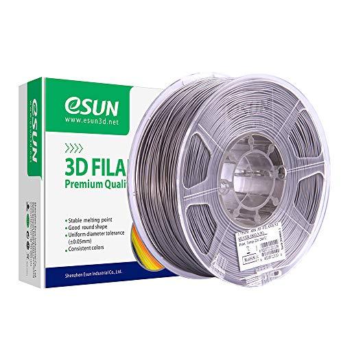 eSUN ABS Filamento de Impresora 3D, Filamento ABS 1.75mm, Precisión Dimensional +/- 0.05mm, 2.2 LBS (1KG) de Carrete para la Impresora 3D, Plata