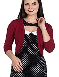 Hell Bunny Ladies 50s Plain Cardigan Maggie Bolero Top Red All Sizes