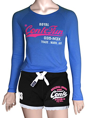 M.Conte Damen Jersey-Shorts Basic Skinni Fit Sport-Shorts / Training Retro-Shorts kurze Damen-Hose Pants Jogginghose Sporthose Blau Neon Pink Weiss Rot S M L XL Schwarz Black
