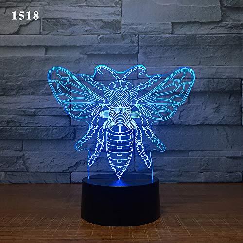 EgBert 3D Kawaii Créatif Papillon LED Veilleuse Tactile Lampes de Table 7 Couleurs Qui changent Illusion Lights avec acrylique Plat ABS Base USB Chargeur pour Cadeau Enfants