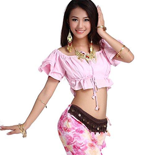 Women Sexy Dance Tops Bauchtanz Costume Puff Sleeve Tether Top Dancewear Bauchtanz Tops Light Pink