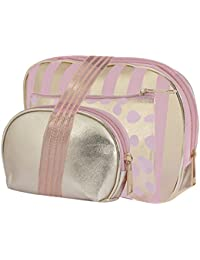 STRIPES Portable Waterproof PU Golden Toiletries Make Up Pouch for Women -Set of 3