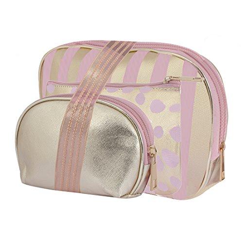 STRIPES Portable Waterproof PU Golden Toiletries Make Up Pouch for Women -Set...