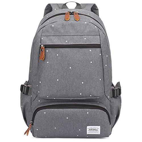 Rucksack Damen Herren Lässiger Schulrucksack Kaukko Daypacks Laptop Backapck 14-15 Zoll Stylisch weißen Pünktchen Rucksäcke Schultasche for College Wander Outdoor Reise (Grau-8008)