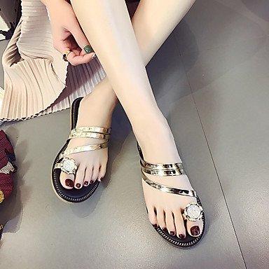 LQXZM Sandalen Komfort im Sommer PU Casual flachem Absatz Strass Gold