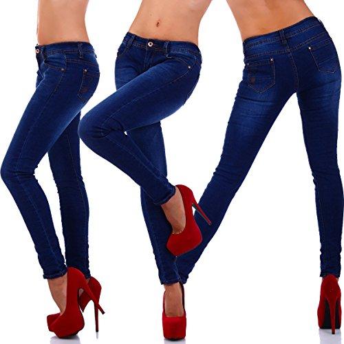 5365 Fashion4Young Damenjeans Hose in dunkelblau Röhrenjeans Skinny Jeans Dunkelblau