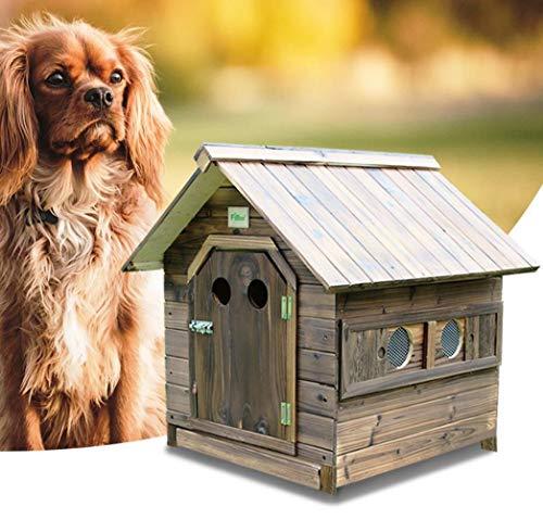 YAMEIJIA Carbonisiertes Massivholz Haustier Nest Holz-Zwinger Breathable Türen und Fenster Outdoor Katzenhaus Rain Haus,L