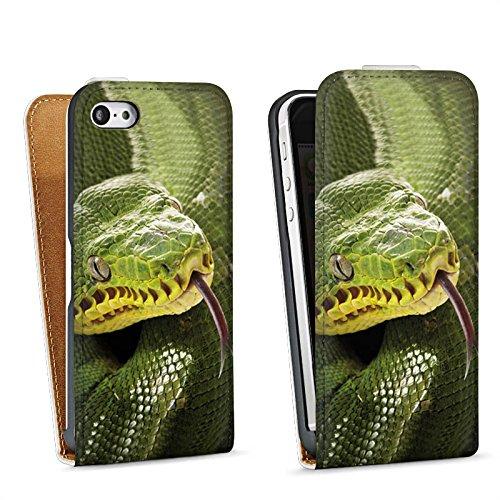 Apple iPhone 4 Housse Étui Silicone Coque Protection Couleuvre Serpent Serpent Sac Downflip blanc