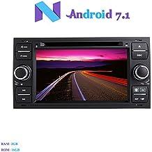 """Android 7.1 Autoradio, Hi-azul 2 Din Radio de Coche In-Dash Navegación GPS De Coche 7"""" Auto Radio Estereo con 1024 * 600 Pantalla Multitáctil y Reproductor De DVD para Ford Fiesta, Focus(2005-2007), C-Max, S-Max, Connect, Galaxy, Fusion, Transit, Kuga Soporte Bluetooth, WiFi, Mirror-link, Control del Volante, Cámara de la Opinión Trasera y Entrada de DVR (Negro)"""