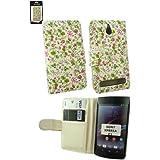 Emartbuy® Sony Xperia E1 Luxuriöse Brieftaschen Hülle Wallet Case Cover Blumen Rosa / Grün mit Kreditkartenfächern